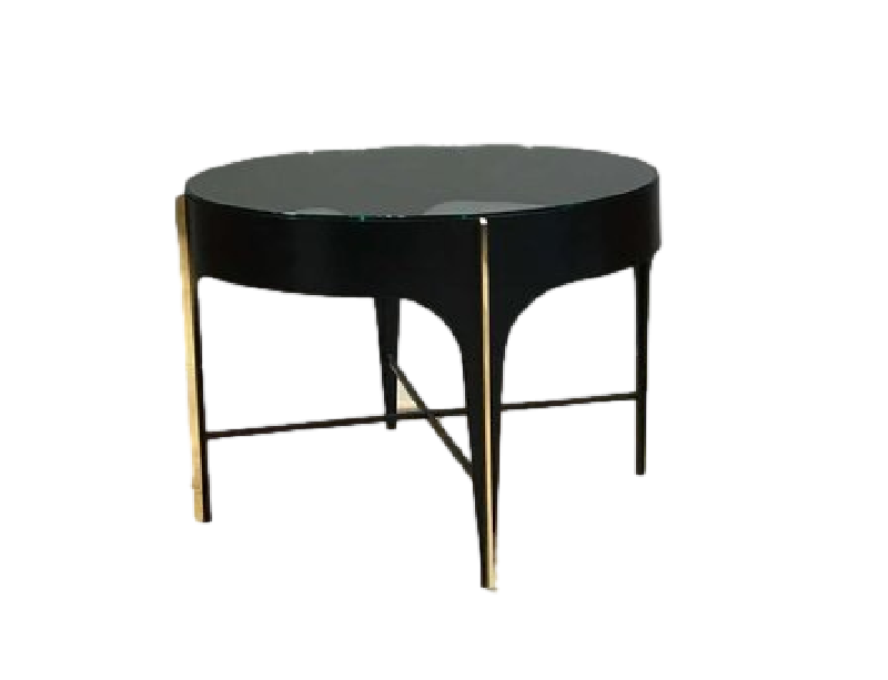 Mid Century Black Brass and Glass Coffee Table